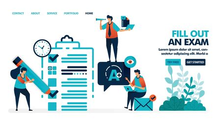 Ilustración de Fill in test sheet with a check and cross. Get an A on exam or class promotion test. Verify exam results. Flat vector illustration for landing page, web, website, banner, mobile apps, flyer, poster - Imagen libre de derechos
