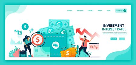 Ilustración de Save money in time deposit, bank and wallet, Increase interest rates to improve economy, Banking investment with mutual fund financial product and currency market. Flat illustration vector design. - Imagen libre de derechos