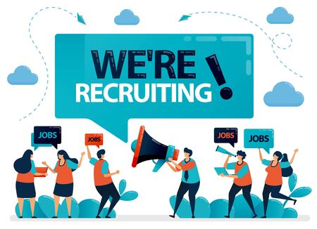 Illustration pour Publicist holds a megaphone and announces we're hiring. Job seekers applying for jobs. Employment opening, recruitment agencies ads. Vector illustration for business card, banner, brochure, flyer - image libre de droit