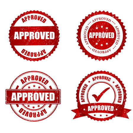 Illustration pour Approved red grunge rubber stamp collection on white, vector illustration - image libre de droit