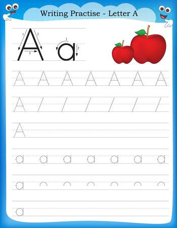 Ilustración de Writing practice letter A  printable worksheet for preschool / kindergarten kids to improve basic writing skills - Imagen libre de derechos