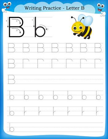 Ilustración de Writing practice letter B  printable worksheet for preschool / kindergarten kids to improve basic writing skills - Imagen libre de derechos