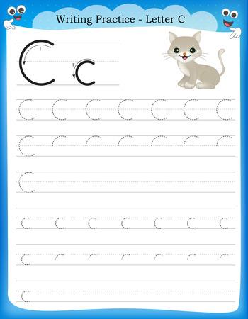 Ilustración de Writing practice letter C  printable worksheet for preschool / kindergarten kids to improve basic writing skills - Imagen libre de derechos