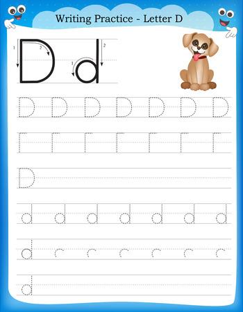 Ilustración de Writing practice letter D  printable worksheet for preschool / kindergarten kids to improve basic writing skills - Imagen libre de derechos