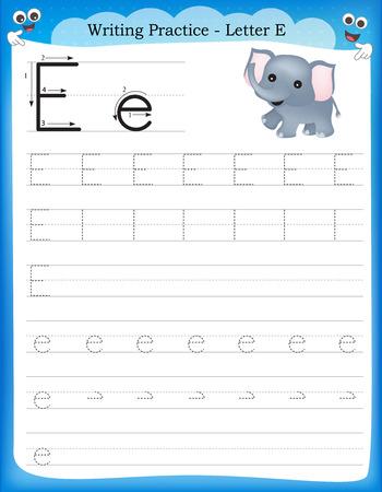 Ilustración de Writing practice letter E  printable worksheet for preschool / kindergarten kids to improve basic writing skills - Imagen libre de derechos
