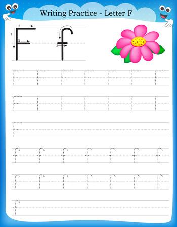 Ilustración de Writing practice letter F  printable worksheet for preschool / kindergarten kids to improve basic writing skills - Imagen libre de derechos