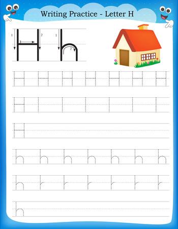 Ilustración de Writing practice letter H  printable worksheet for preschool / kindergarten kids to improve basic writing skills - Imagen libre de derechos