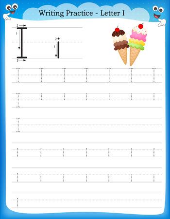 Ilustración de Writing practice letter I  printable worksheet for preschool / kindergarten kids to improve basic writing skills - Imagen libre de derechos