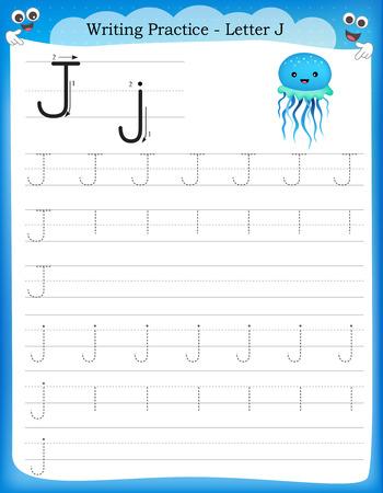 Ilustración de Writing practice letter J  printable worksheet for preschool / kindergarten kids to improve basic writing skills - Imagen libre de derechos