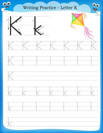 Ilustración de Writing practice letter K  printable worksheet with clip art for preschool / kindergarten kids to improve basic writing skills - Imagen libre de derechos