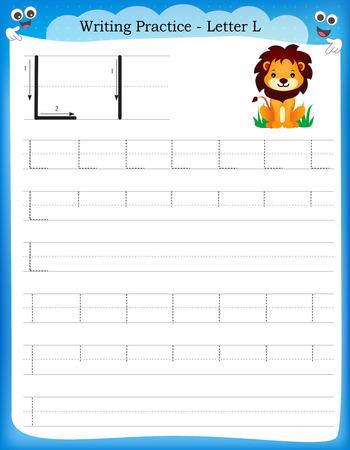 Ilustración de Writing practice letter L printable worksheet with clip art for preschool / kindergarten kids to improve basic writing skills - Imagen libre de derechos