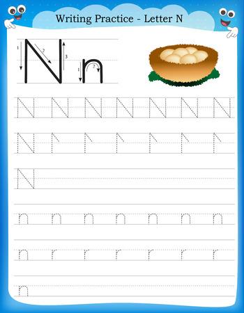 Ilustración de Writing practice letter N  printable worksheet with clip art for preschool / kindergarten kids to improve basic writing skills - Imagen libre de derechos