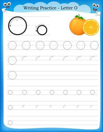 Ilustración de Writing practice letter O  printable worksheet with clip art for preschool / kindergarten kids to improve basic writing skills - Imagen libre de derechos