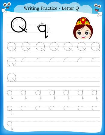 Ilustración de Writing practice letter Q  printable worksheet with clip art for preschool / kindergarten kids to improve basic writing skills - Imagen libre de derechos