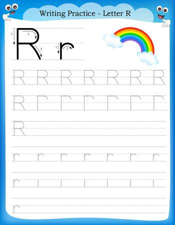 Ilustración de Writing practice letter R  printable worksheet with clip art for preschool / kindergarten kids to improve basic writing skills - Imagen libre de derechos