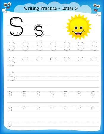 Ilustración de Writing practice letter S  printable worksheet woth clip art for preschool / kindergarten kids to improve basic writing skills - Imagen libre de derechos