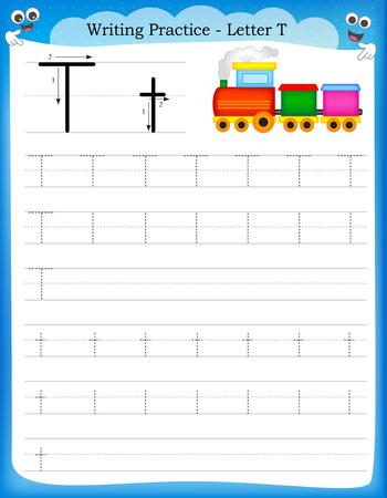 Ilustración de Writing practice letter T  printable worksheet with clip art for preschool / kindergarten kids to improve basic writing skills - Imagen libre de derechos