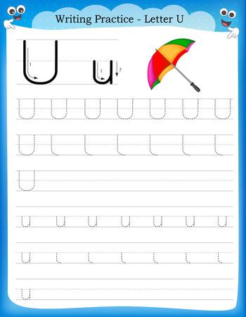 Ilustración de Writing practice letter U  printable worksheet with clip art for preschool / kindergarten kids to improve basic writing skills - Imagen libre de derechos