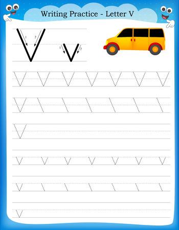 Ilustración de Writing practice letter V  printable worksheet with clip art for preschool / kindergarten kids to improve basic writing skills - Imagen libre de derechos