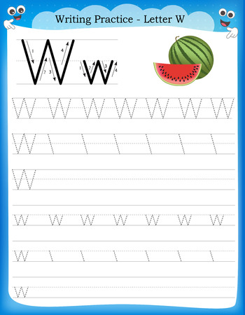 Ilustración de Writing practice letter W  printable worksheet with clip art for preschool / kindergarten kids to improve basic writing skills - Imagen libre de derechos
