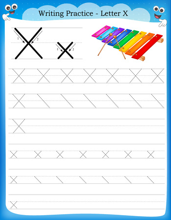 Ilustración de Writing practice letter X  printable worksheet with clip art for preschool / kindergarten kids to improve basic writing skills - Imagen libre de derechos