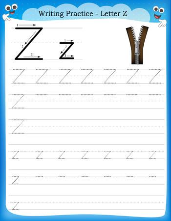 Ilustración de Writing practice letter Z  printable worksheet with clip art for preschool / kindergarten kids to improve basic writing skills - Imagen libre de derechos