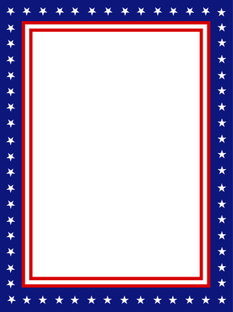 Ilustración de Blue and red patriotic stars and stripes page  border / frame design - Imagen libre de derechos