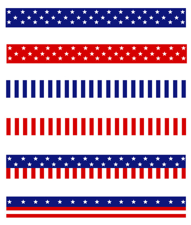 Illustration pour Collection of Blue and red patriotic stars and stripes background frames / page dividers - image libre de droit