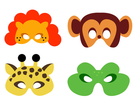 Illustration pour Collection of animal masks with animal faces. Ready to print and wear - image libre de droit