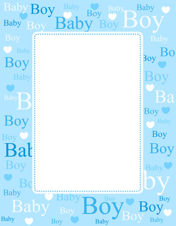Illustration pour Cute blue frame / border with baby boy text and hearts with empty space - image libre de droit