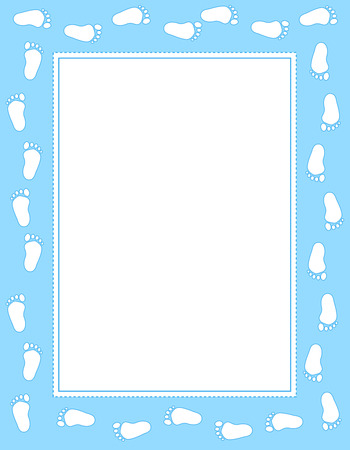 Illustration pour Baby boy footprints border / frame  with empty white space to add text - image libre de droit