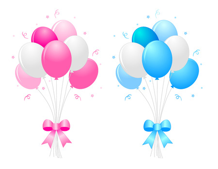 Illustration pour Illustration of a bunch of multi-colored pink blue and white) balloons with curly ribbons clipart isolated on white background - image libre de droit