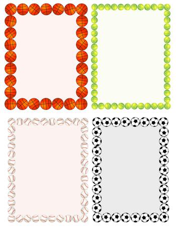 Illustration pour Sport balls border / frame set on white background. - image libre de droit