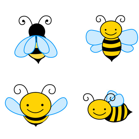 Illustration for Collection of colorful bee cliparts isolated on white backgrounds - Royalty Free Image