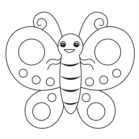 Illustration pour Cute outlined butterfly printable graphic for pre school kids coloring book pages - image libre de droit