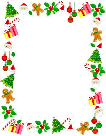 Ilustración de Colorful christmas frame / border with different clip arts - Imagen libre de derechos