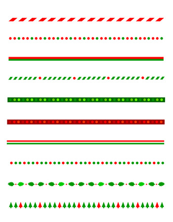 Ilustración de Collection of simple christmas themed borders / divider graphics including holly border, candy cane pattern, christmas trees and more - Imagen libre de derechos