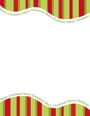 Illustration pour Retro striped frame with red and green  stripes with merry christmas letters. christmas candy cane border, header or footer - image libre de droit