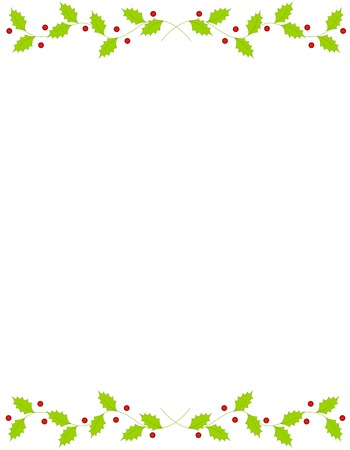 Illustration pour Beautiful holly and berry frame / border with empty space. - image libre de droit