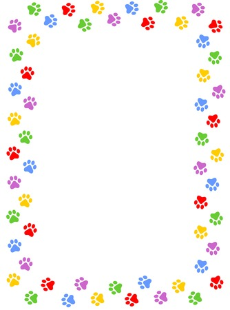 Illustration pour Colorful dog paw print frame / border on white background - image libre de droit