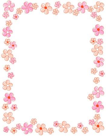 Ilustración de Colorful spring flowers border / frame - Imagen libre de derechos
