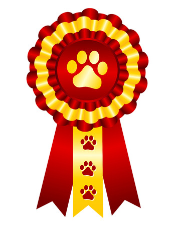 Illustration for Dog competition winner gold award ribbon / stamp seal with red ribbon and paw print on center - Royalty Free Image