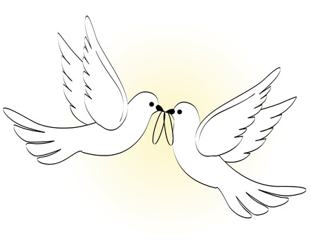 Ilustración de Illustration of two white pigeons / doves carrying two wedding rings on light yellow backgound - Imagen libre de derechos