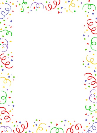 Illustration pour Colorful falling confetti party frame with empty space in center - image libre de droit