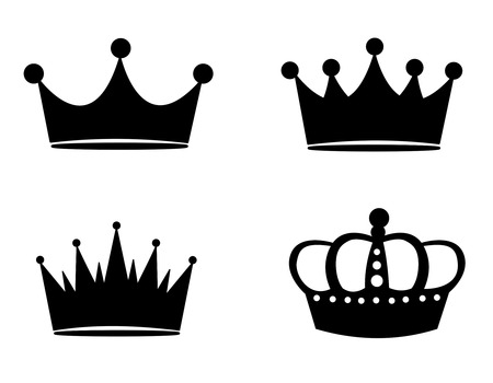 Illustration for Illustration of black crown silhouettes isolated on white background - Royalty Free Image