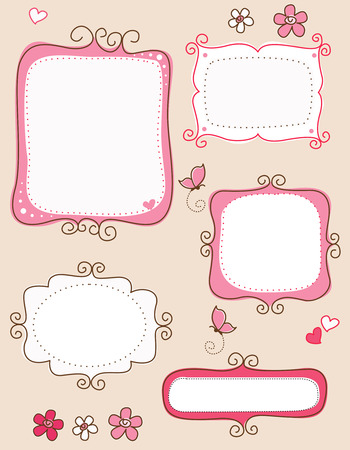 Illustration pour Collection of nice cute doodle frames on white background. specially for spring scrap booking - image libre de droit