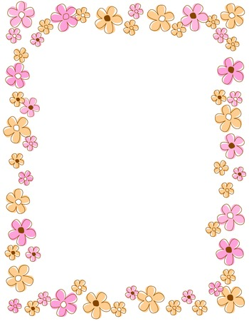 Illustration pour Colorful spring flowers border / frame - image libre de droit