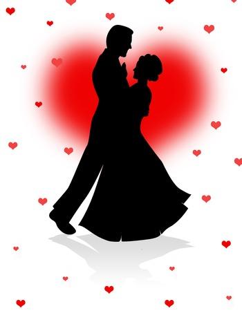 Ilustración de Silhouette of couple dancing together on red hearts background - Imagen libre de derechos