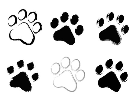 Illustration pour Grunge pet ( dog and cat ) paw prints collection isolated on white background - image libre de droit