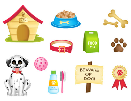 Ilustración de Dog and dogs stuff colorful clipart isolated on white background - Imagen libre de derechos